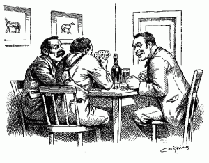 three-men-gambling-sitting-at-poker-table-playing-cards-betting-party-pen-ink-drawing